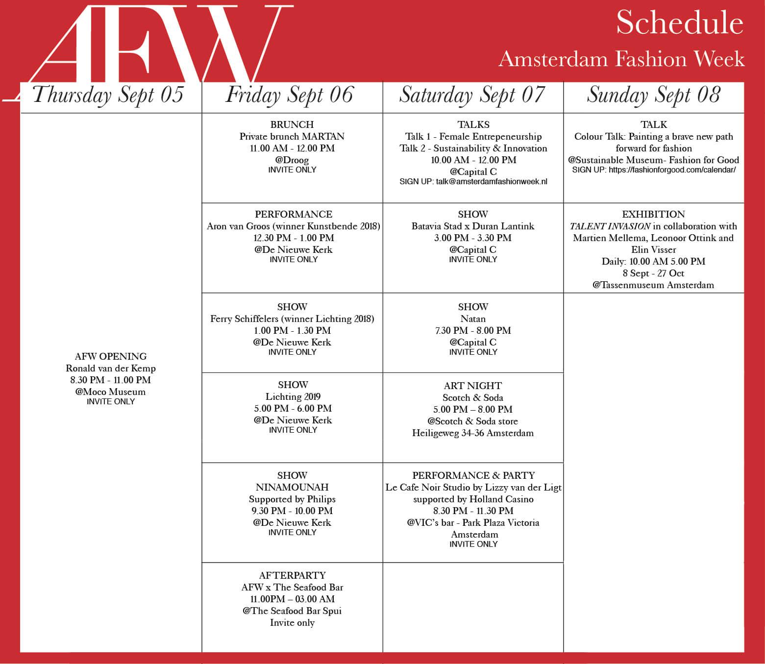 Het Volledige AFW Schedule is Bekend!